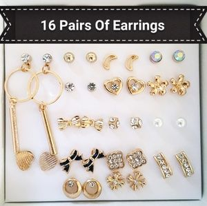 NWT GOLD 16 PAIR OF HYPOALLERGENIC EARRINGS AMY